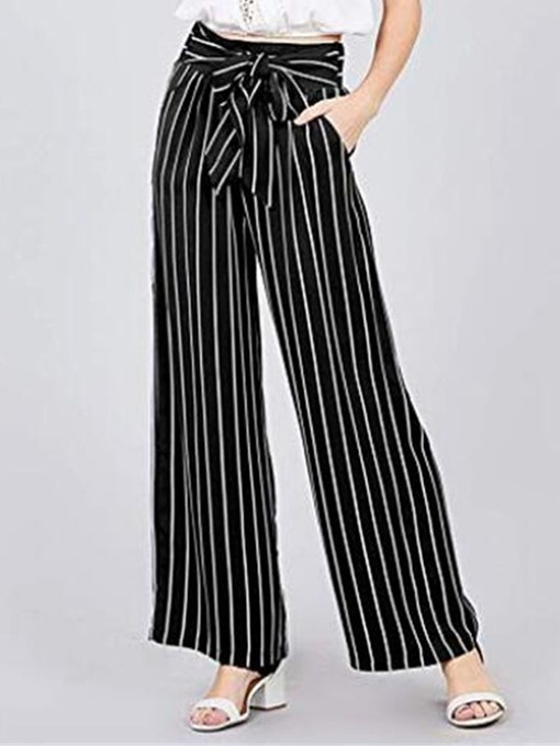Ericdress Bowknot Stripe Color Block Loose Full Length Wide Legs Casual Pants