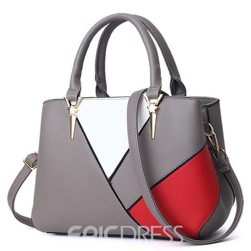Ericdress PU Zipper Color Block Rectangle Tote Bags