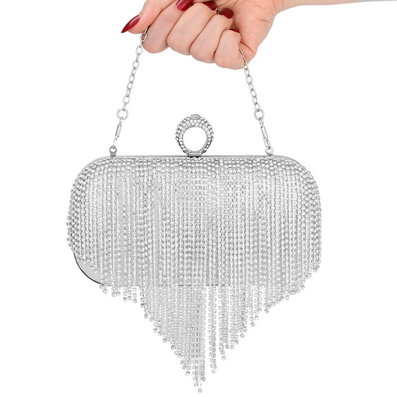 Ericdress Fringe Rhinestone Versatile Rectangle Clutches & Evening Bags