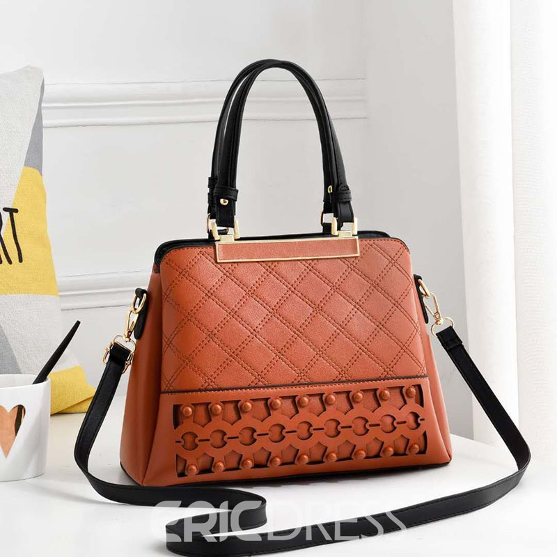 Ericdress Plaid Hollow Zipper Rectangle Tote Bags