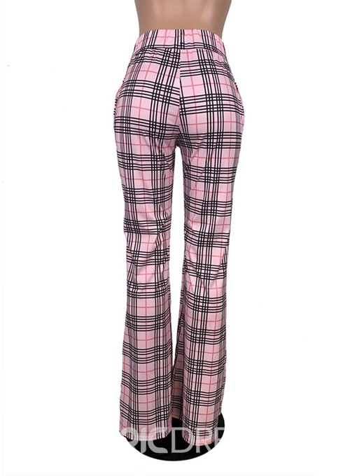 Ericdress Slim Plaid Full Length Bellbottoms Casual Pants