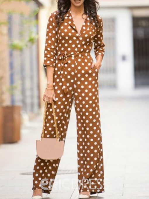 Ericdress Polka Dots Full Length Slim Jumpsuit