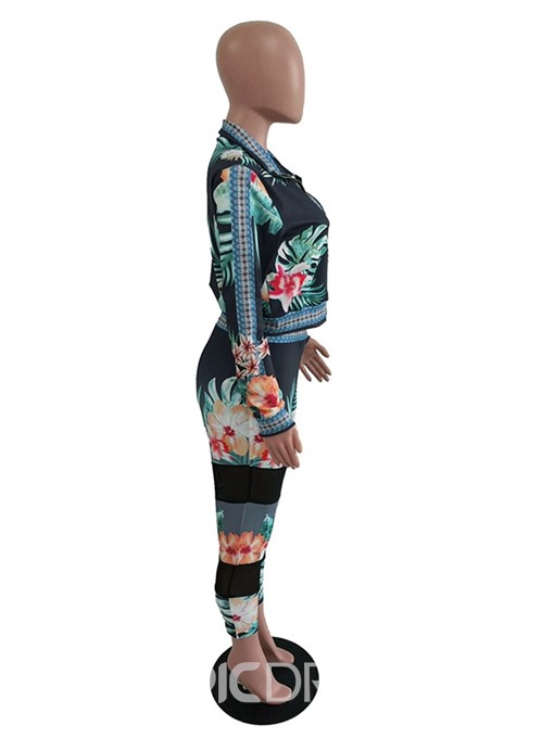 Ericdress Print Floral Zipper African Fashion Dashiki Two Piece Sets
