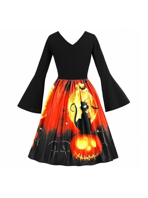 Ericdress Halloween Costume Flare Sleeve V-Neck Mid-Calf Print Patchwork Expansion Dress
