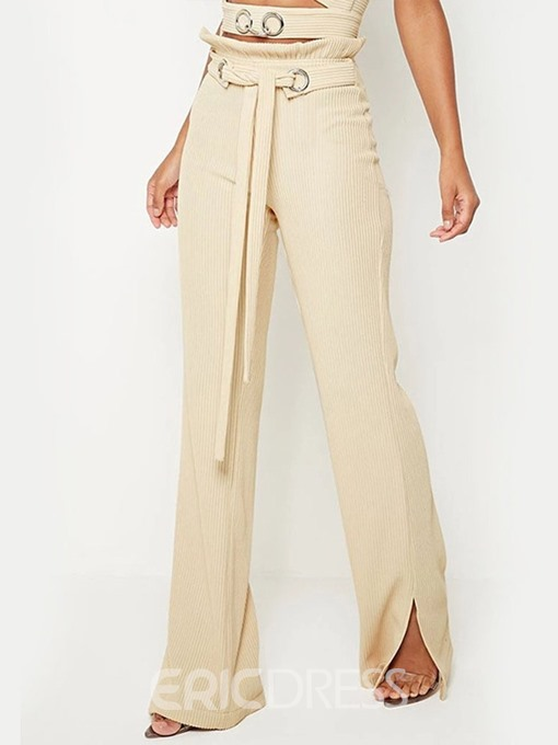 Ericdress Plain Lace-Up Slim Full Length High Waist Casual Pants