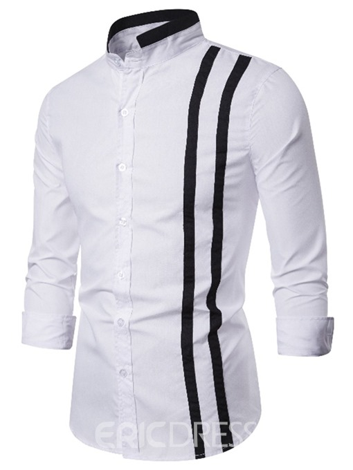 Ericdress Casual Color Block Button Single-Breasted Men's Slim Shirt