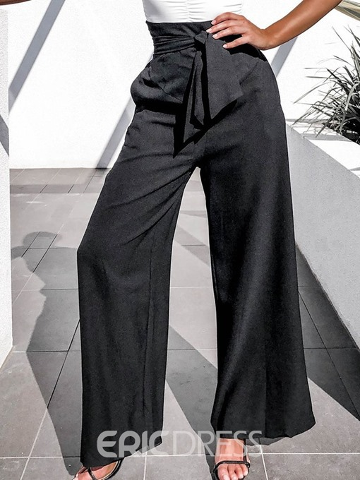 Ericdress Plain Loose Lace-Up Full Length Casual Pants