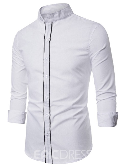 Ericdress Casual Color Block Stand Collar Men's Slim Shirt