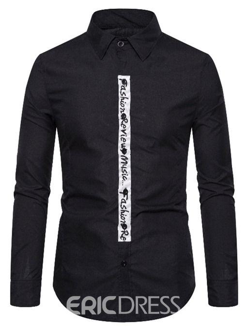 Ericdress Button Casual Letter Slim Single-Breasted Men's Shirt