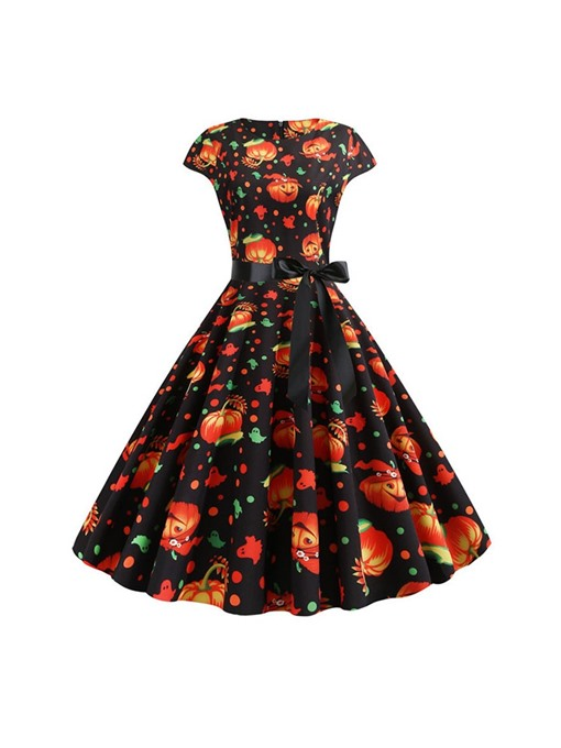Ericdress Halloween Costume Round Neck Bowknot Mid-Calf A-Line Expansion Dress(Without Crinoline)
