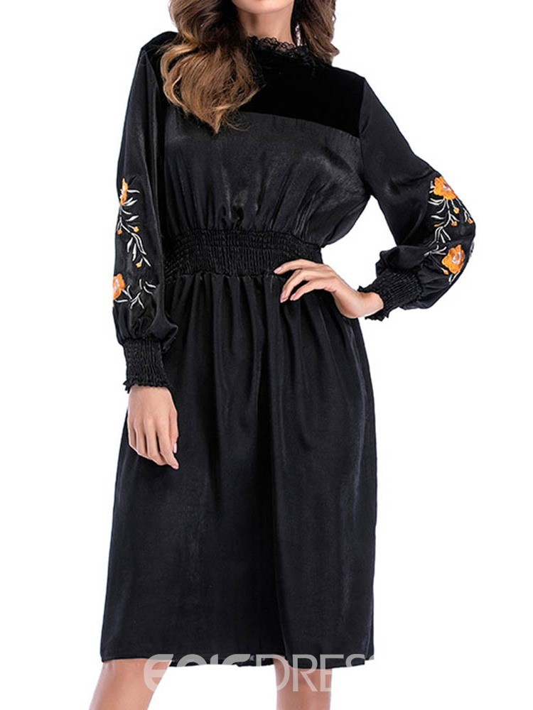 Ericdress Knee-Length Embroidery Long Sleeve A-Line Floral Little Black Dress