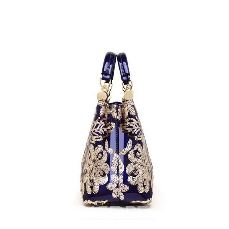 Ericdress PU Sequins Floral Rectangle Tote Bags
