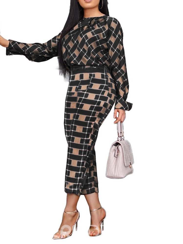 Ericdress Color Block Plaid Round Neck Two Piece Sets