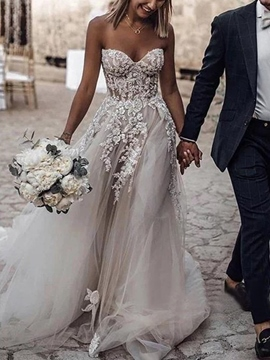 Ericdress A-Line Sweetheart Appliques Outdoor Wedding Dress 2019