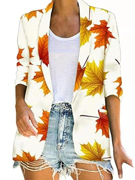 Ericdress Plant Three-Quarter Sleeve Fall Mid-Length Casual Blazer