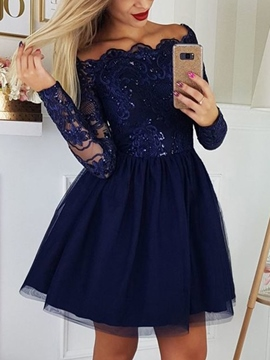 Ericdress Short/Mini Sequins Off-The-Shoulder Cocktail Dress 2019