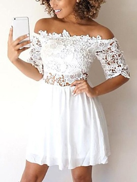 Ericdress Short Sleeves Off-The-Shoulder Homecoming Dress 2019