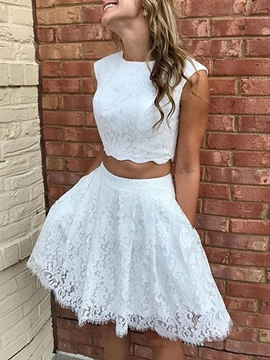 Ericdress A-Line Sleeveless Lace Short Cocktail Dress