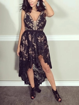 Ericdress Appliques Asymmetry Black Homecoming Dress 2019