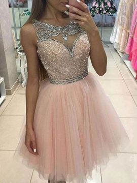Ericdress Scoop A-Line Short Homecoming Dress 2019