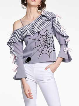 ericdress col oblique falbala rayure blouse standard à manches neuf points