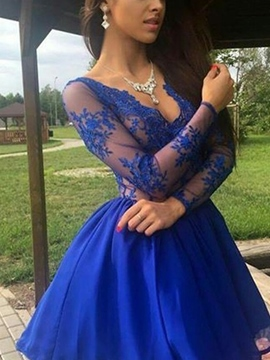Ericdress Long Sleeves V-Neck Short Homecoming Dress 2019