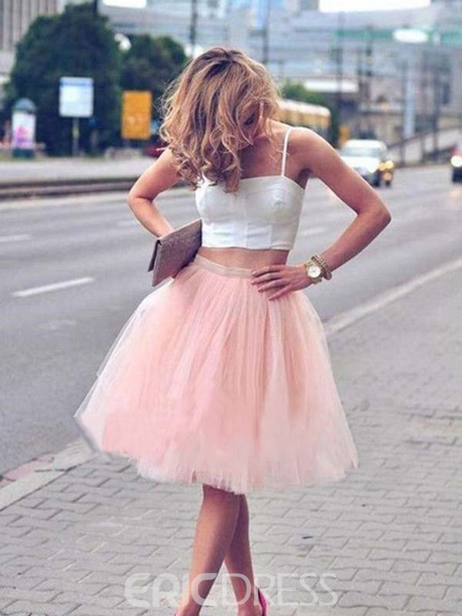 Ericdress Spaghetti Straps Knee-Length Two Piece Homecoming Dress