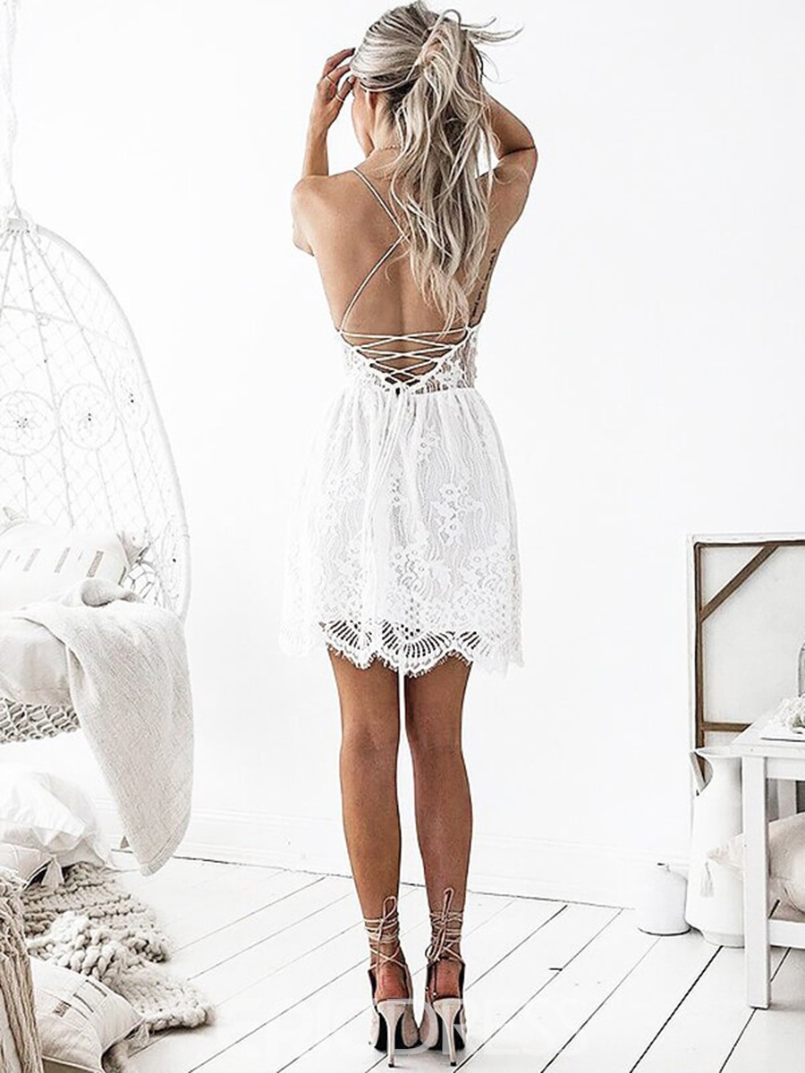 Ericdress Spaghetti Straps Lace Short Homecoming Dress 2019