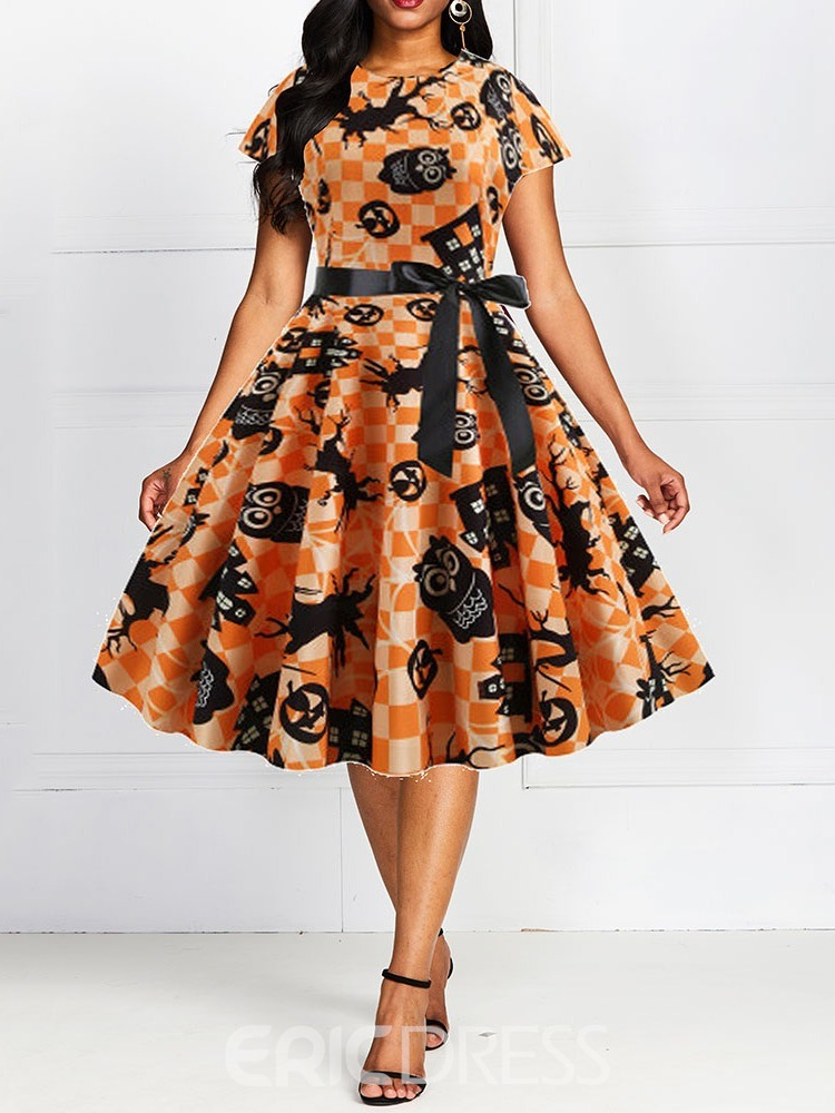 Ericdress Halloween Costume Mid-Calf Print Round Neck Expansion Pullover Dress(Without Crinoline)