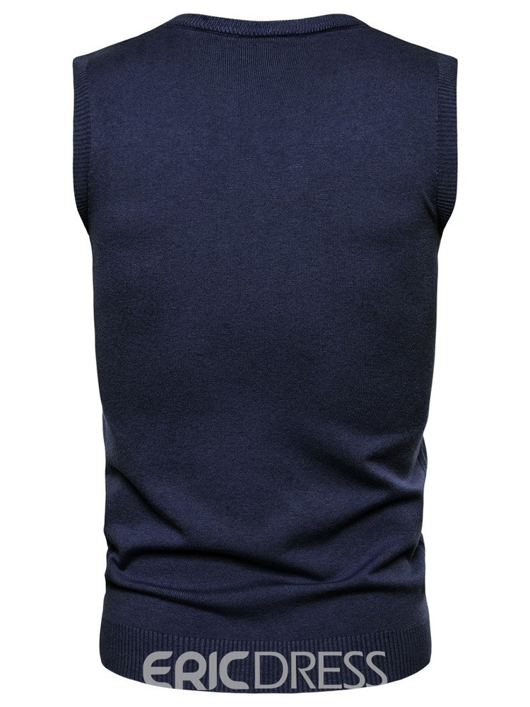 Ericdress Plain Standard Round Neck Men's Slim Sweater