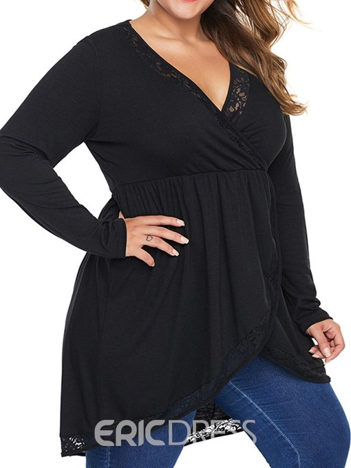 Ericdress Plus Size Plain V-Neck Long Sleeve Mid-Length Blouse