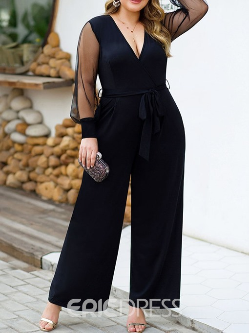 Ericdress Plus Size Casual Plain See-Through Straight Loose Jumpsuit