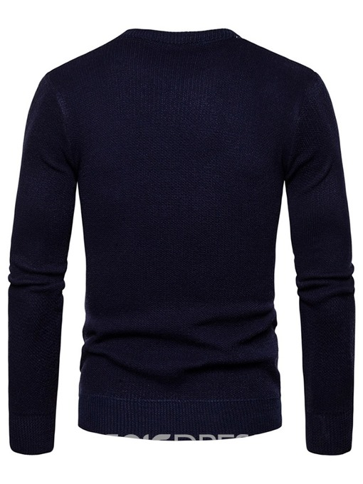 Ericdress Color Block Print Standard Men's Slim Sweater
