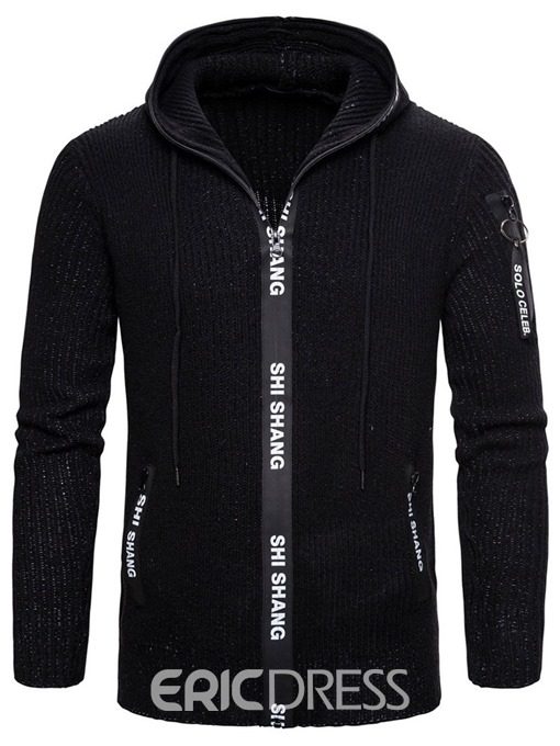 Ericdress Pocket Standard Hooded Zipper Men's Slim Sweater