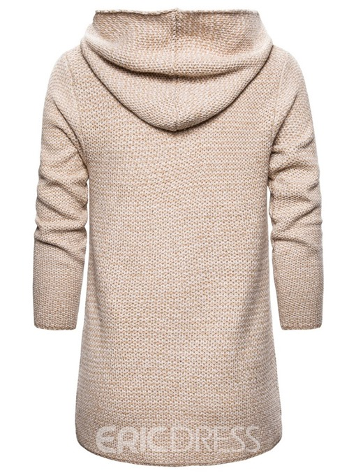 Ericdress Plain Hooded Mid-Length Men's Sweater