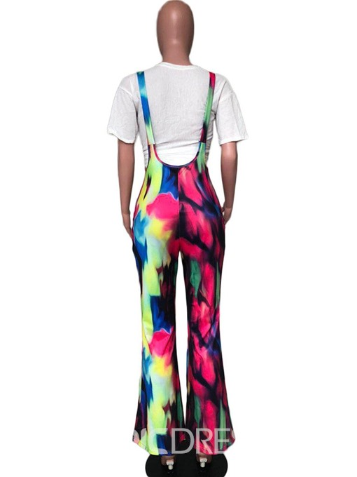 Ericdress Print Full Length Loose Bellbottoms Jumpsuit