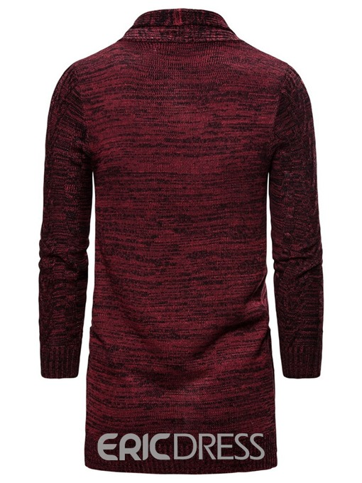 Ericdress Color Block Mid-Length Pocket Wrapped Men's Sweater