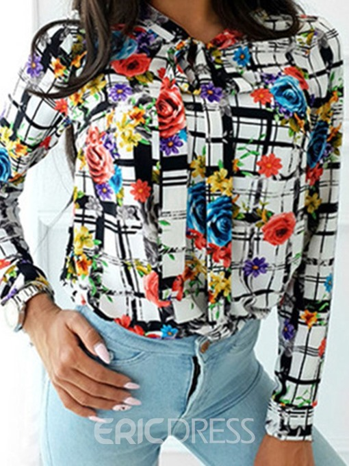 Ericdress Stand Collar Plant Print Long Sleeve Standard Blouse