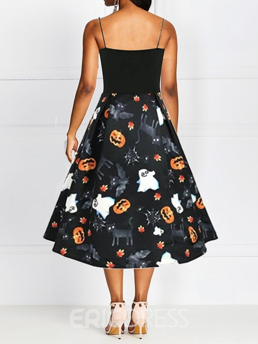Ericdress Halloween Costume V-Neck Print Mid-Calf Expansion Spaghetti Strap Dress