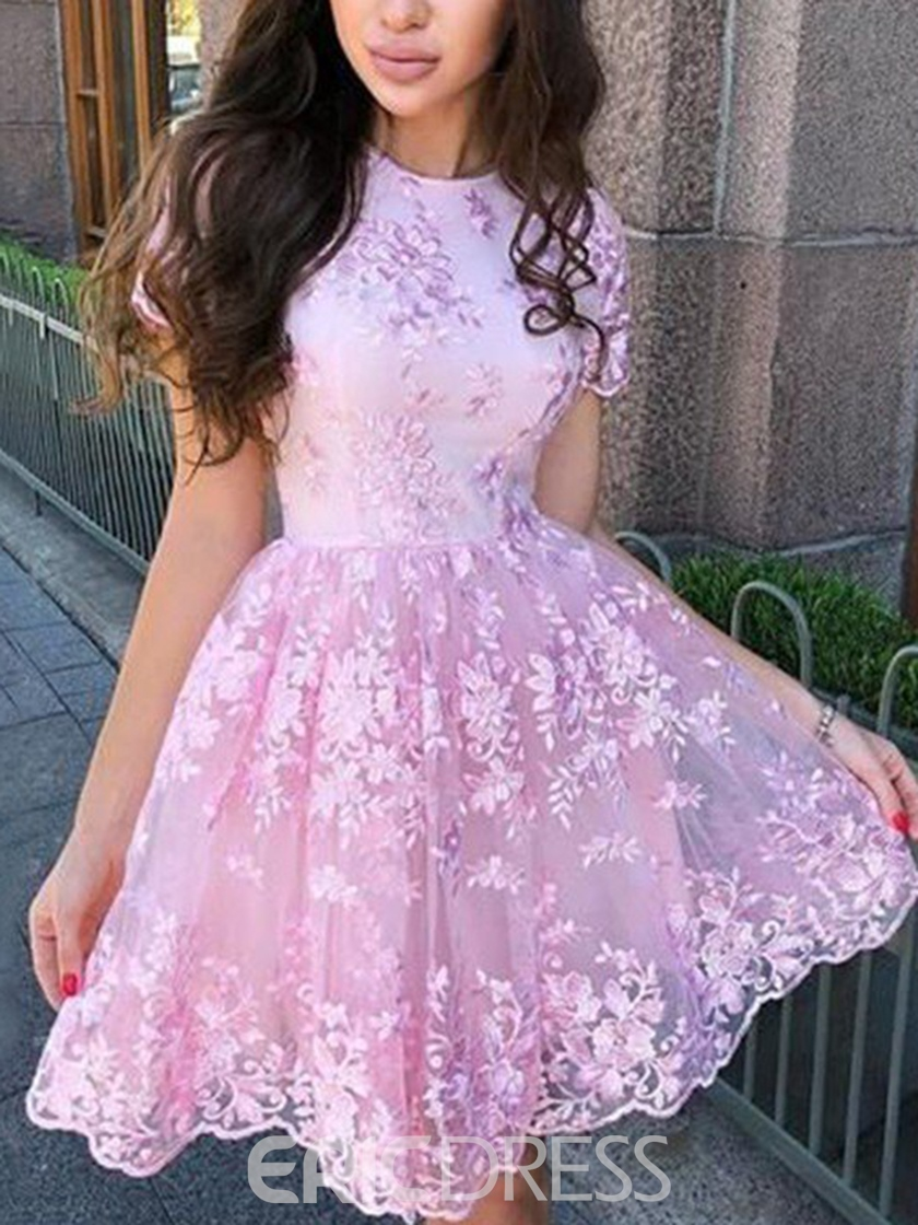 Ericdress Short Sleeves Appliques Short Homecoming Dress