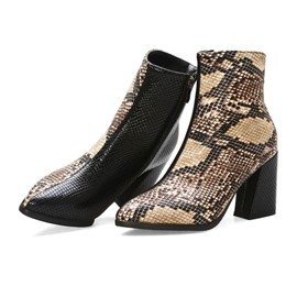 Ericdress Serpentine Color Block Side Zipper Chunky Heel Women's Boots