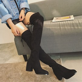 Ericdress Plain Lace-Up Back Chunky Heel Women's Knee High Boots