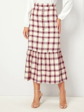 Ericdress Print A-Line Button Plaid Skirt