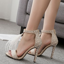 Ericdress Heel Covering Zipper Open Toe Rhinestone Sandals