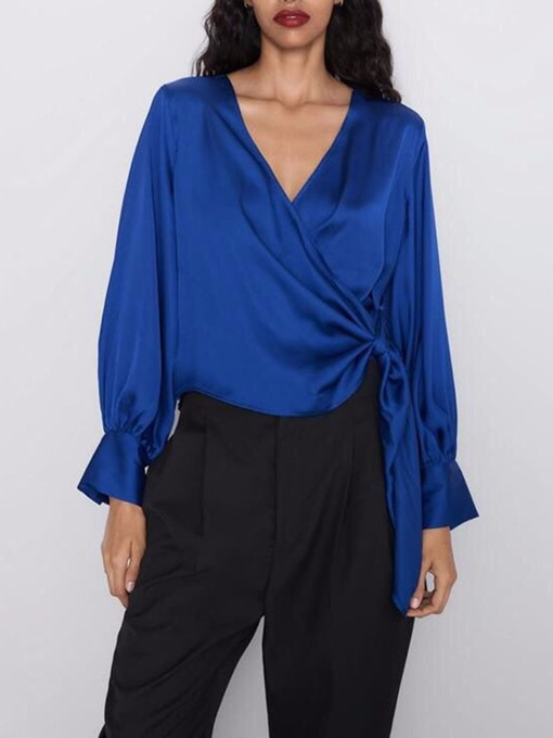 Ericdress Regular V-Neck Plain Standard Long Sleeve Blouse