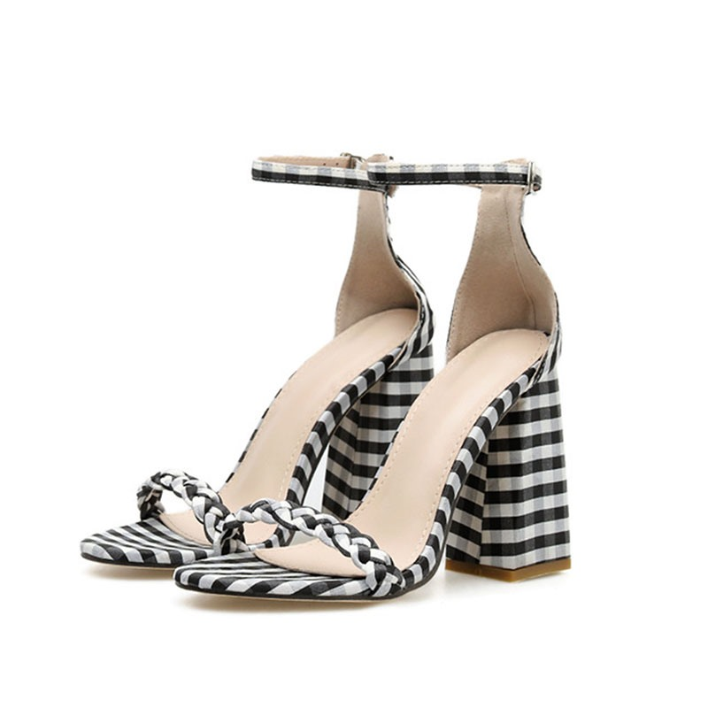 Ericdress Plaid Heel Covering Line-Style Buckle Chunky Heel Women's Sandals