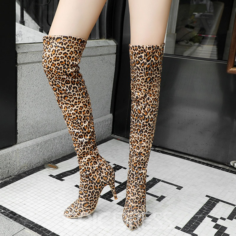 Ericdress Leopard Print Stiletto Heel Pointed Toe Women's Knee High Boots