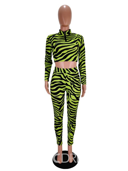 Ericdress Zipper Stand Collar Pullover Two Piece Sets
