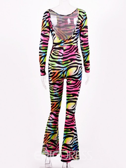Ericdress Full Length Zebra Stripe Slim Bellbottoms Jumpsuit
