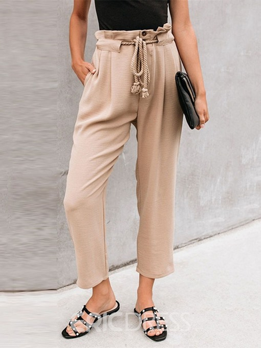 Ericdress Lace-Up Plain Loose Mid-Calf Casual Pants